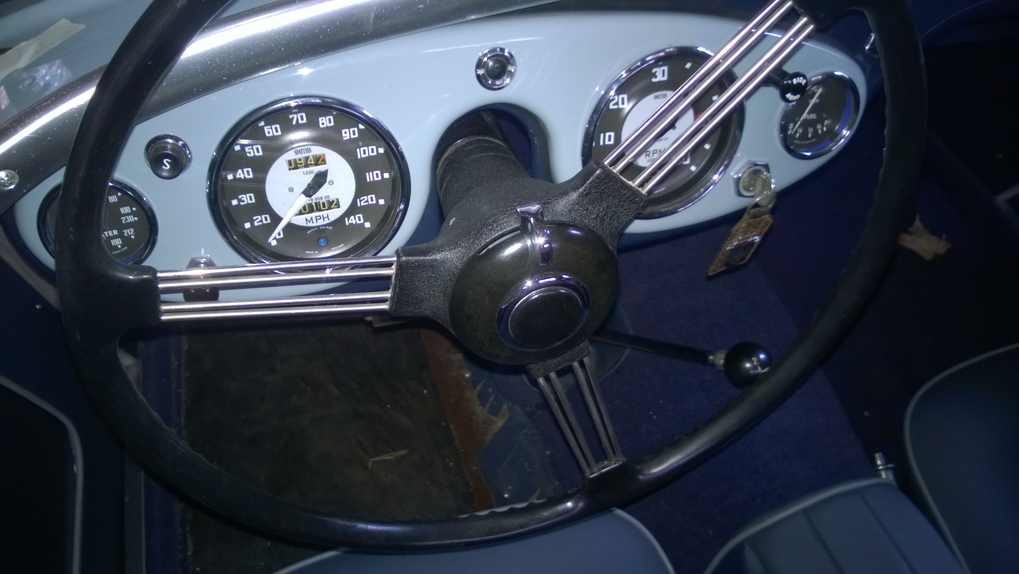 The Refinished Wrinkle Black Steering Wheel Hub on #174